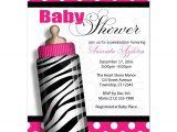 Zebra Print Baby Shower Invites Baby Shower Invitations Zebra Print Baby Bottle Hot Pink