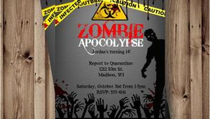 Zombie Party Invitation Template Zombie Birthday Invitation Zombie Party Apocalypse by